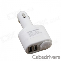 Dual-USB Car Cigarette Lighter Charger w/ 12V Cigarette Lighter Socket - White (12~24V)