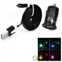 1000mA USB Car Cigarette Charger + Charging Cable for LG Nexus 5 / 4 / E960 + More - Black
