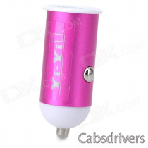 Car Cigarette Lighter Charger + USB Charging/Data Cable for Samsung - Deep Pink + Black (100cm)
