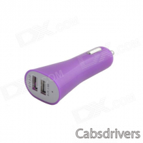 Car Cigarette Powered Dual USB Adapter Charger for IPAD / IPHONE - Purple (DC 12V)