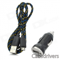 Car Charger + Weave Micro USB Cable for Samsung Galaxy S4 / Note 2 / S3 - Black (DC 12~24V)