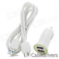 Dual USB Car Charger + Micro USB 3.0 9-Pin Cable for Samsung Galaxy Note 3 - White (DC 12~24V)