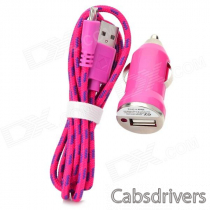 Car Charger + Weave Micro USB Male to USB 2.0 Charging Cable for Samsung - Deep Pink (DC 12~24V)