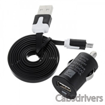 Car Charger + USB to Micro USB Data Sync / Charging Flat Cable for Samsung / HTC + More - Black
