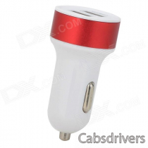 2A Dual USB Car Cigarette Lighter Charger - White + Red + Multi-Colored