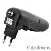 5V 1A USB Car Charger + EU Plug Power Adapter w/ Indicator - Black (AC 100~240V)