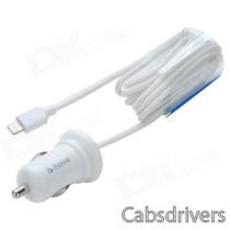 MFi LIN SHIUNG ihave Car Charger w/ Glim Lightning Cable for IPHONE / IPAD - White