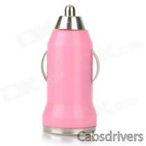 5V 1A USB Car Cigarette Lighter Charger w/ Charging Cable for Samsung Galaxy S3 / S4 + More - Pink