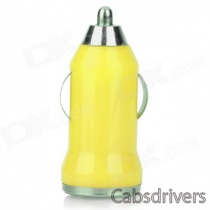 5V 1A USB Car Cigarette Lighter Charger w/ Charging Cable for Samsung Galaxy Note 3 / S5 - Yellow