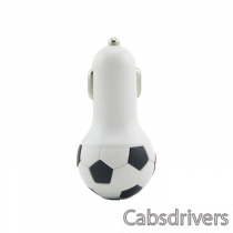 A-M8 Portable Football Style 2.1A USB Car Lighter Charger - Black + White (12~24V)