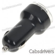 Car Cigarette Powered Dual USB Adapter/Charger for Ipad - Black (DC 12~24V)