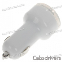 Car Cigarette Powered Dual USB Adapter/Charger for Ipad - White (DC 12~24V)