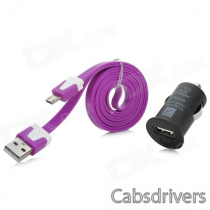 Y-5V1 Universal USB Car Charger + Micro USB Cable for Cellphone - Black + Purple