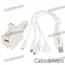 2-in-1 USB Car/AC Charger + 5-in-1 USB Charging Cable for Nokia/Samsung/Sony Ericsson + More