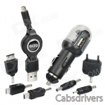 OZIO B42 USB Car Charger w/ Adapters for Nokia + Samsung + More - Black (DC 12~24V)