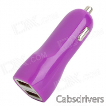 Car Cigarette Powered Charging Adapter Charger w/ Dual USB Output for Ipad / Iphone - Purple