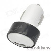 USB Car Cigarette Lighter Power Adapter for Iphone / Samsung / HTC / Nokia - Black + White