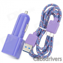 YI-YI Double USB Powered Car Charger w/ USB 3.0 Woven Mesh Data Cable for Samsung - Purple (100 cm)