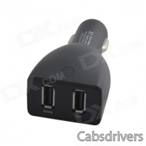 HH-163 Car Cigarette Powered Charging Adapter Charger w/ Dual USB Output - Black