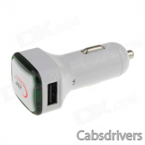 Double USB Car Cigarette Light Charger / Adapter w/ Indicator Light - White (12~24V)
