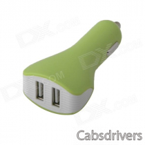 Dual USB Car Cigarette Lighter Power Charger for IPHONE / IPAD / IPOD - Green + White (12~24V)