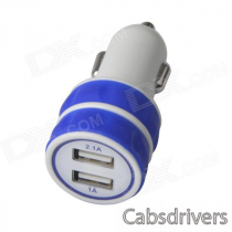 ES-03 Mini Dual USB Car Cigarette Lighter Charger for IPHONE / IPAD / IPOD - Blue + White (12~24V)