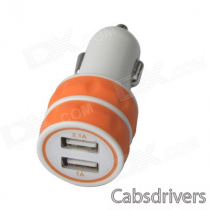 ES-03 Mini Dual USB Car Cigarette Lighter Charger for IPHONE / IPAD / IPOD - Orange + White (12~24V)