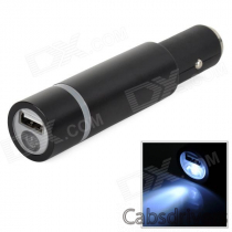 Multi-Functional Car Cigarette Lighter / USB 1400mAh Mobile Power Bank w/ LED Flashlight - Black