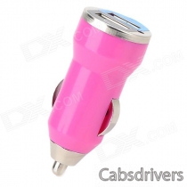 Mini Compact Universal Dual USB Output Car Charger w/ LED Indicator - Deep Pink