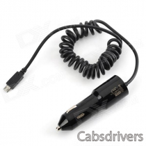 DC 5V 2.1A USB Car Charger w/ Spring Cable for IPHONE, IPAD, MP3, Samsung Note 3 - Black