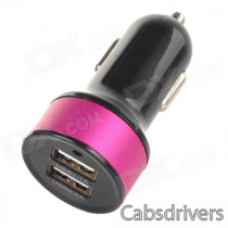 Double USB Power Car Cigarette Lighter Plug Charging Adapter - Black + Deep Pink (12~18V)