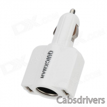 2-in-1 Dual USB 5V 1.5A + 12V Output Car Cigarette Lighter Charger - White (12~24V)