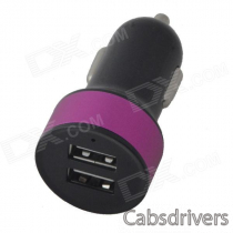BSF-07A Creative Mini Dual USB Car Charger with Metal Color Circle for IPHONE / IPAD - Black