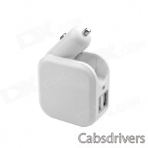 Universal Home Double Use / Car Cigarette Lighter Power Adapter Charger w/ US Plug - White