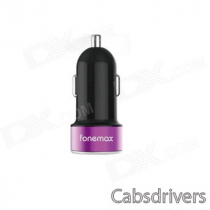 Fonemax FM-XPC-R18 Universal Dual USB Car Cigarette Lighter Charger - Black + Deep Pink