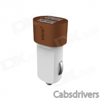 VOJO Bullet Style Dual USB Port Car Charger w/ LED - Grey + White