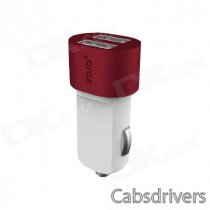 VOJO Bullet 3100mA Dual USB Port Car Charger w/ LED - White + Red