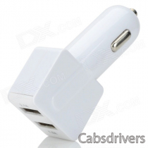 Universal Dual USB Car Cigarette Lighter Chager + USB 2.0 Data/Charging Cable - White (95cm)