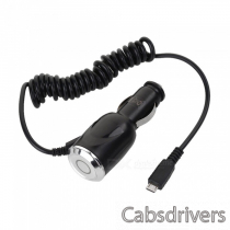 Mini 5.1V 2A/ 2.1A Dual USB Car Charger w/ Micro USB Charging Cable for Samsung / HTC - Black