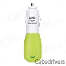 iznc znc-006 Universal Quick Charging 2A USB Port Car Charger Power Adapter - White + Green