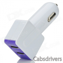 Dual USB Car Cigarette Lighter Chager + USB 2.0 Data/Charging Cable - White + Purple (95cm)