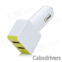 Universal Dual-USB Car Charger + USB Male to Micro USB Male Data Cable - White + Green