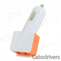 Universal Dual-USB Car Charger + USB Male to Micro USB Male Data Cable - White + Orange