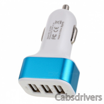 Universal 3-Port USB Car Charger Adapter - White + Sky Blue