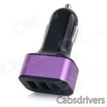 Universal 3 USB Ports Car Charger Adapter - Black + Purple