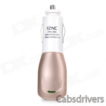 iznc znc-006 Universal Quick Charging 2A USB Port Car Charger Power Adapter - White + Gold