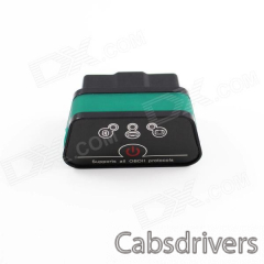 Super Mini iCar2 Vehicle Bluetooth OBD-II Code Diagnostic Tool / Clearer - Black + Green - 0
