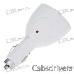 2 * 500mA Car Cigarette Powered USB Adapter/Charger with Extra Cigarette Power Socket (DC 12V/24V) - 0