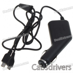 Universal Mini + Micro USB Car Charger for HTC Cell Phones (12~24V DC) - 0