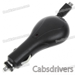 Car Charger with Retractable Cable for Samsung i9000 (DC 12~24V/75CM-Cable) - 0